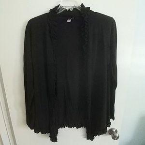 Sweater Black T-shirt thin with Frills XL